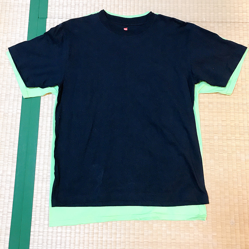 プリントタグと黒タグのヘインズ・ビーフィーTシャツを比較